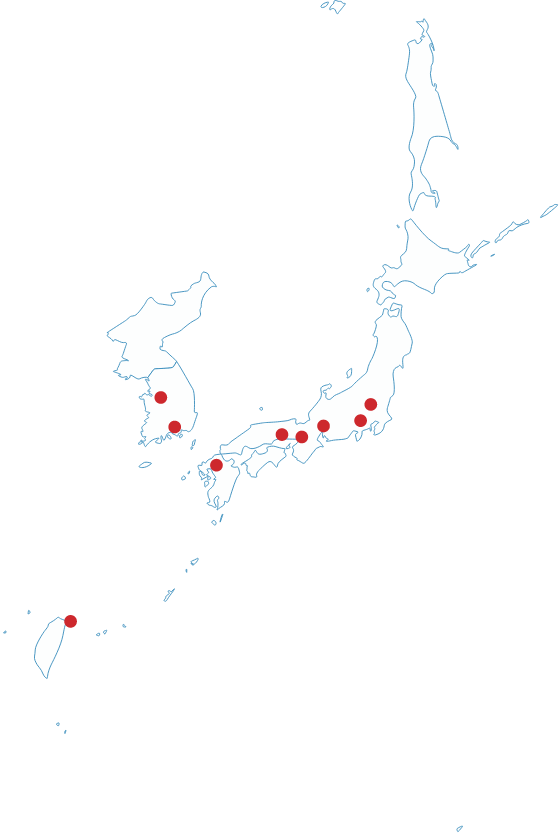 Map of East Asia showing UArizona locations