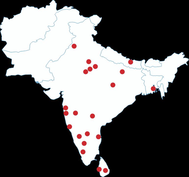 Map of India showing UArizona locations