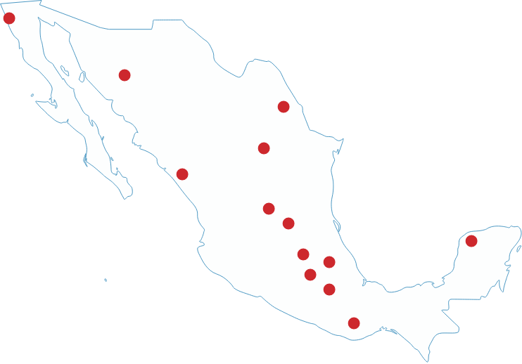 Map of Mexico showing UArizona locations