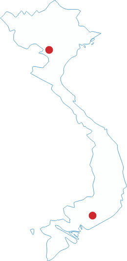 Map of Vietnam showing UArizona locations